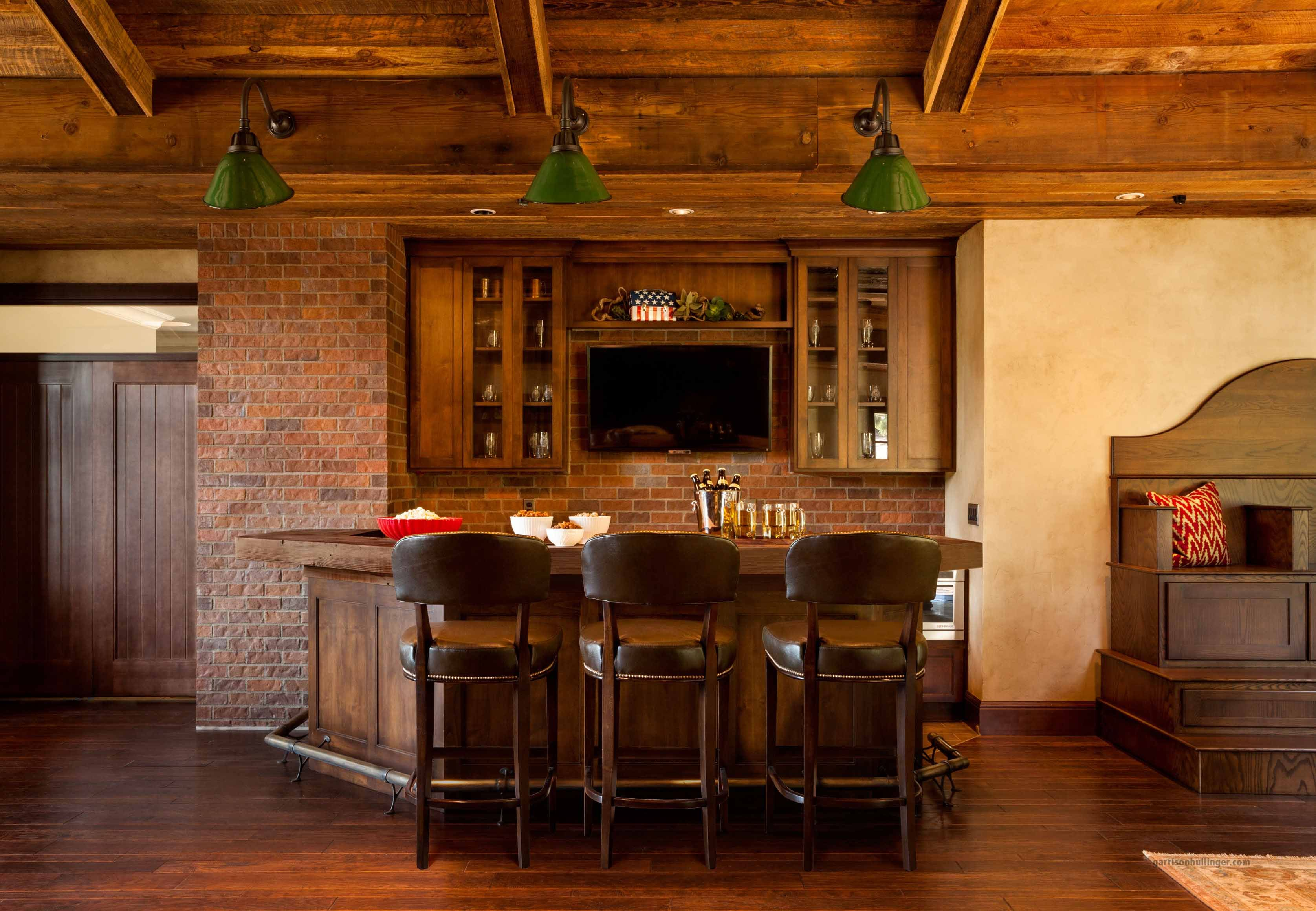 Brick Back Wall Warm Wood Cabinets Wooden Home Bar Bars For