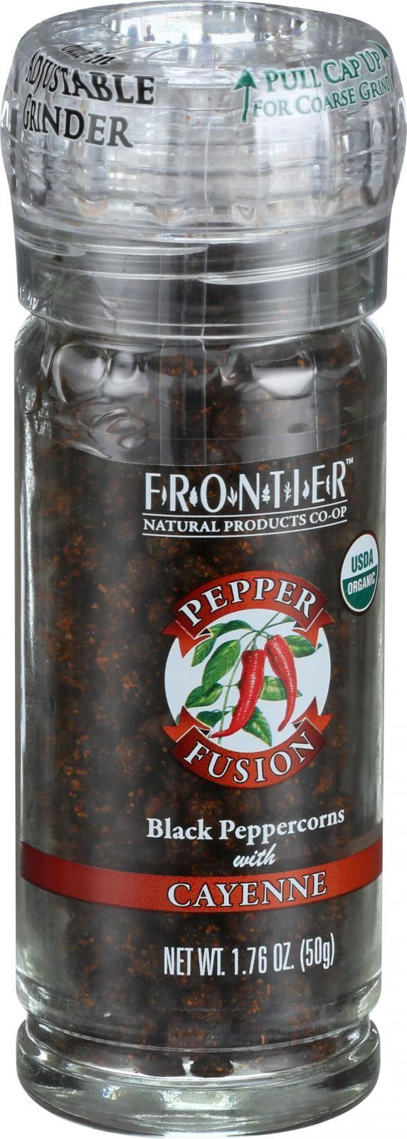 Frontier Herb Pepper Fusion - Organic - Black Pepper with Cayenne - Grinder Bottle - 1.76 oz