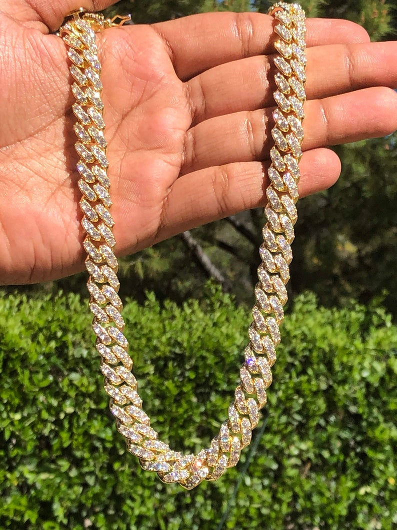 Men S Iced Out Miami Cuban Link Chain Necklace 22 Etsy Miami Cuban Link Chain Cuban Link Chain Chain Link Necklace