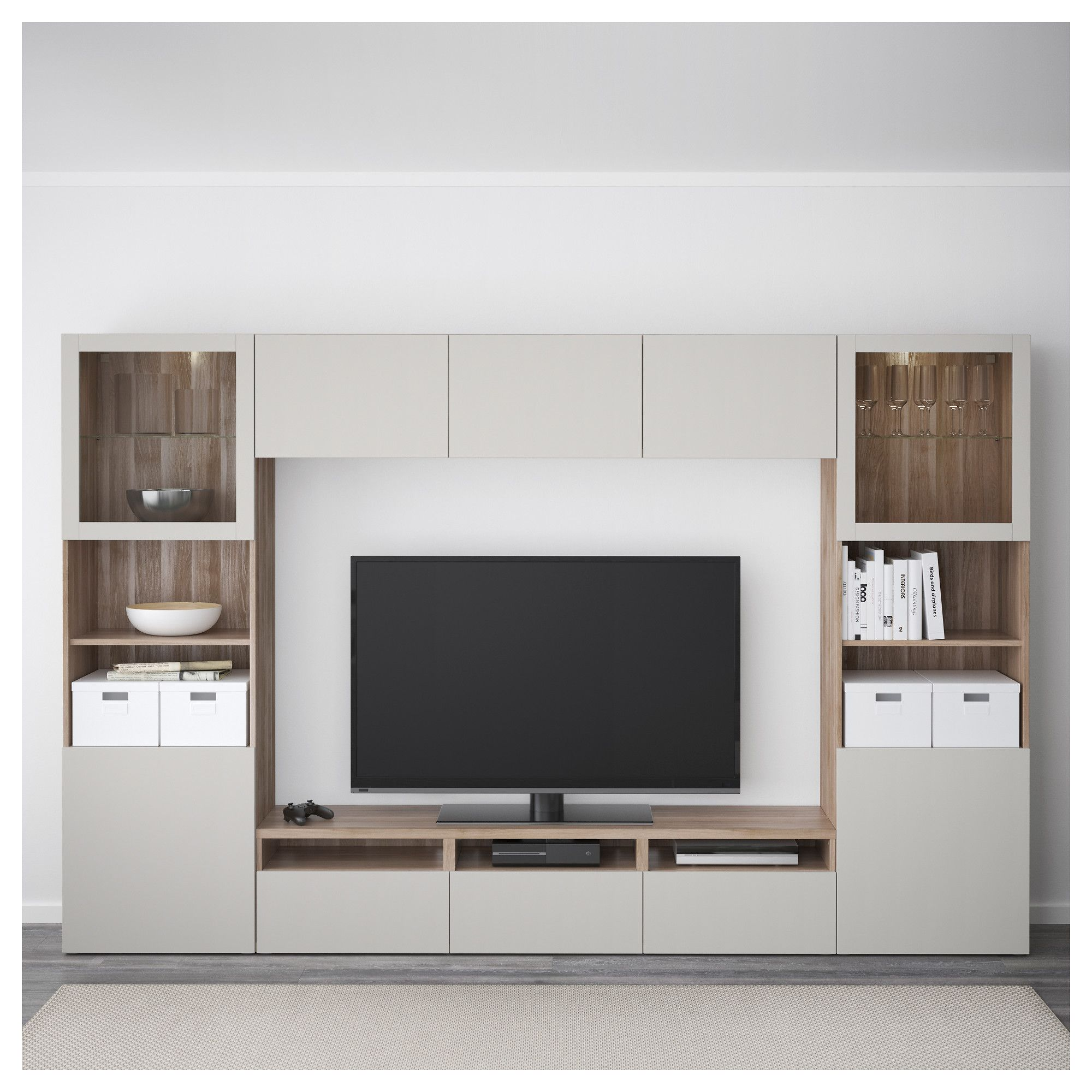 Besta Tv BestÅ Tv Storage Combination Glass Doors Walnut Effect Light Gray