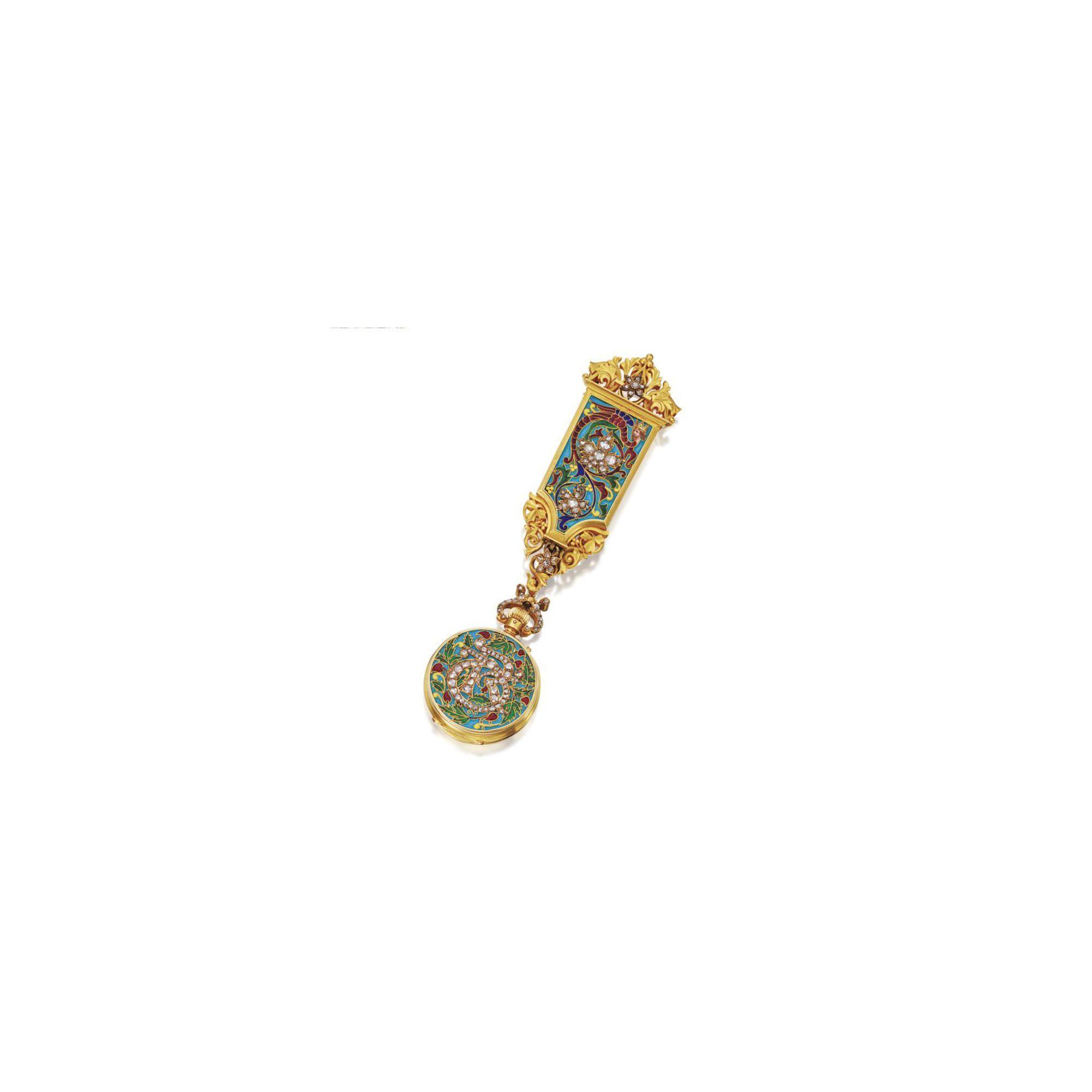 Gold, silver, enamel and diamond pendant-watch, Falize, retailed by Lemonnier, circa 1878