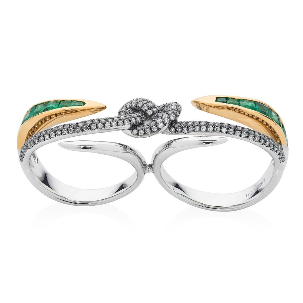 Leyla abdollahi lust and lure double ring jagged jewels