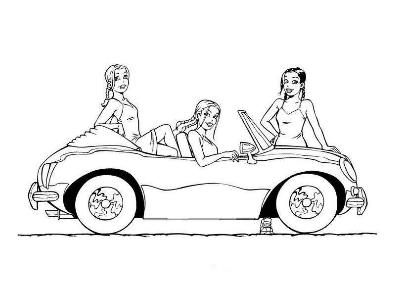 Free Coloring Pages Of Girls Cars Barbie Coloring Coloring