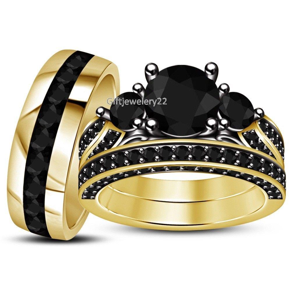 Pear Shape Round Black Diamond Wedding His Hers Trio Ring Set Black Gold Finish
