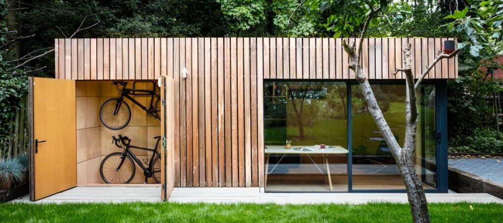 This stunning garden office with bike shed was built for a