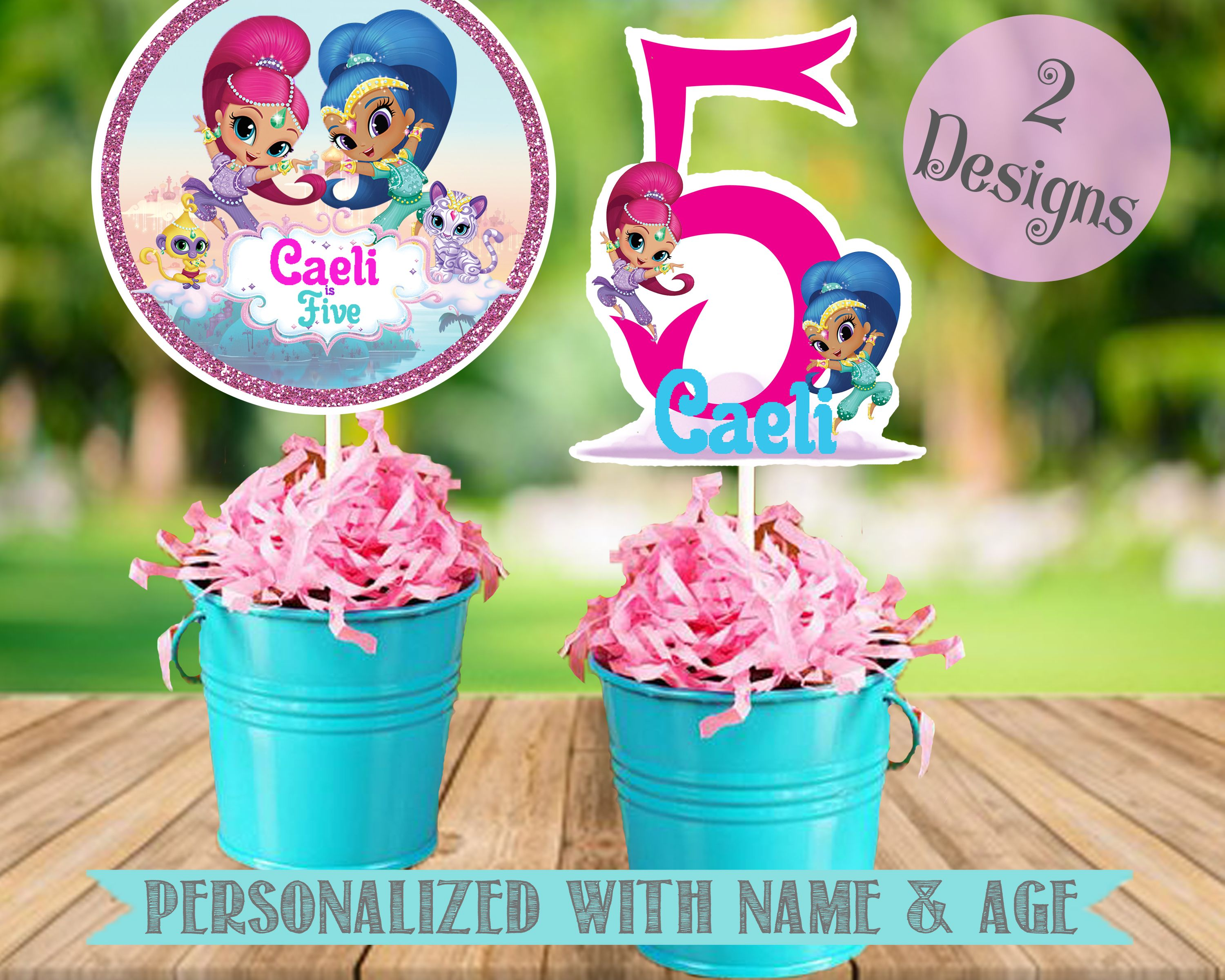Shimmer and Shine birthday party centerpiece toppers Shimmer