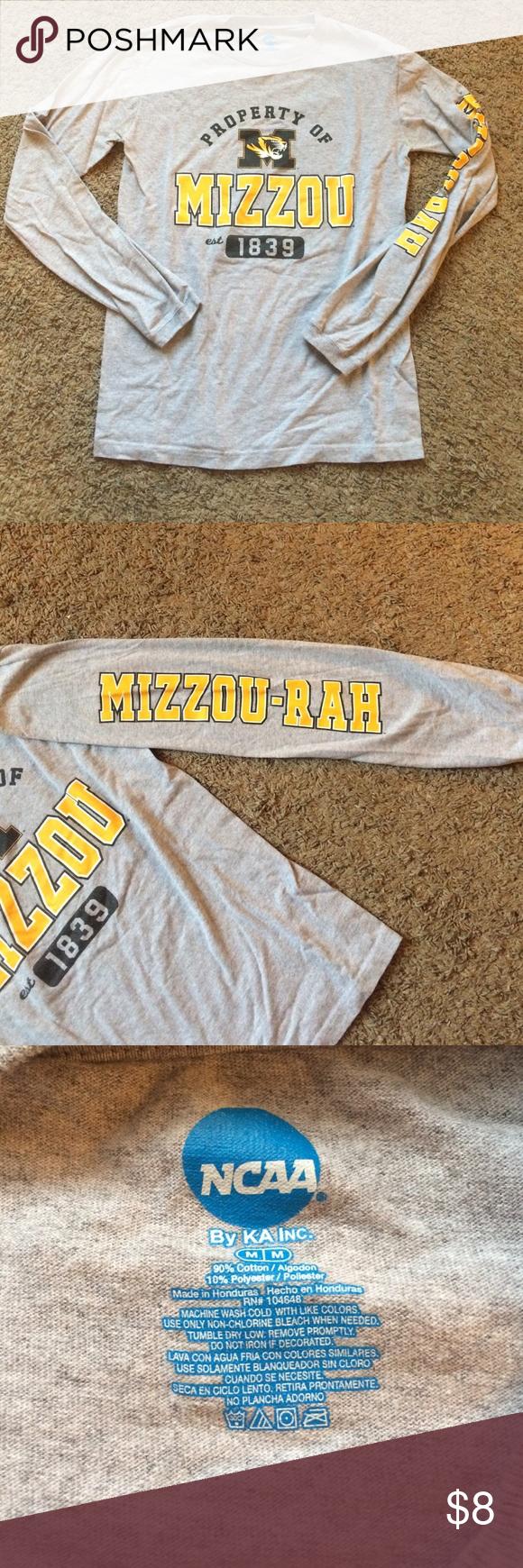 Mizzou long sleeve tee Great condition, mizzou long sleeve unisex tshirt. Mizzou-rah down the side on the sleeve. Smoke free home! NCAA Tops Tees - Long Sleeve