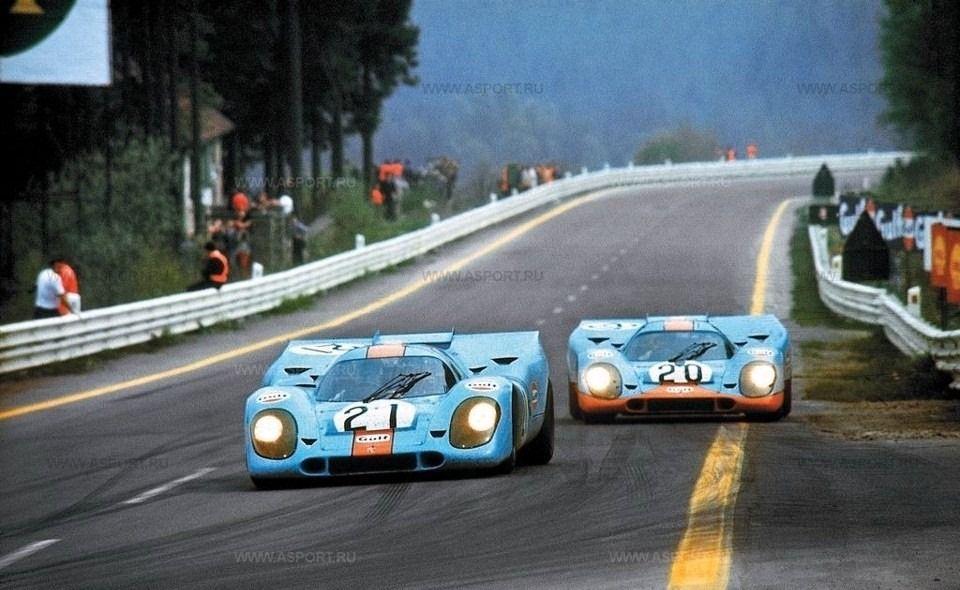 The Rodriguez/Oliver Porsche 917K leads the Siffert /Bell - Porsche 917K, Spa 1000 Kilometres 1971.