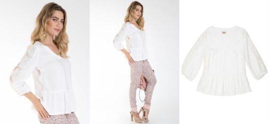 Blusa com Detalhe de Renda Creme Mercatto