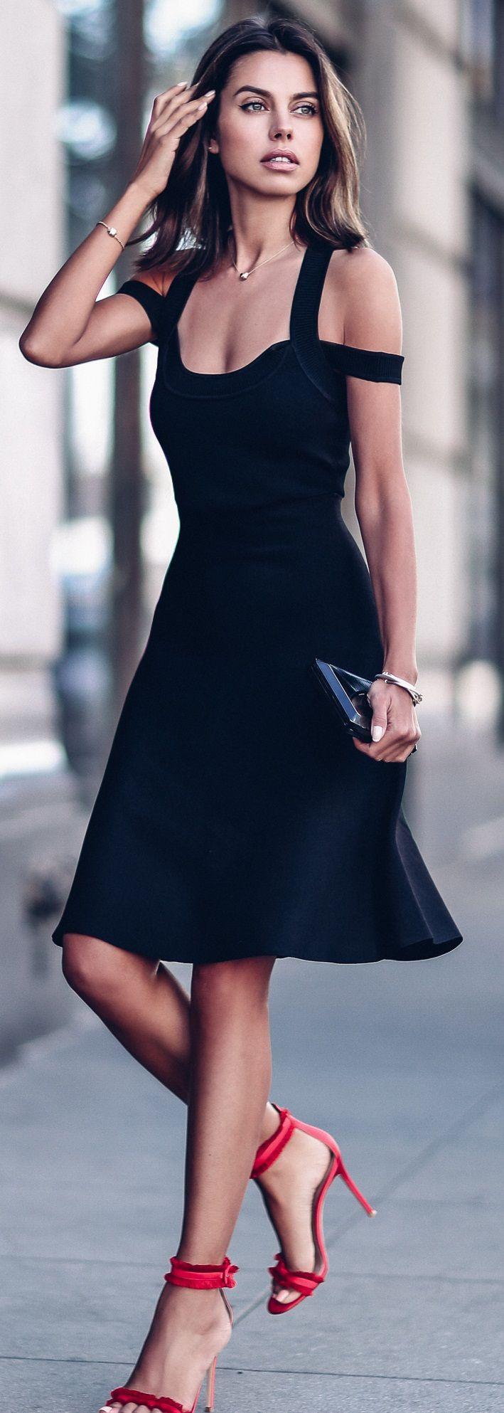 Black Off Shoulder Dress Red Strappy Heels Fashion Style Street Style Women [ 1986 x 709 Pixel ]