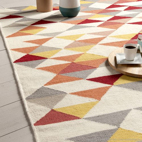 Tapis Rouge Salon Pas Cher Tapis 100% Laine Tissé Main Triangles Jaune/orange Kalmar