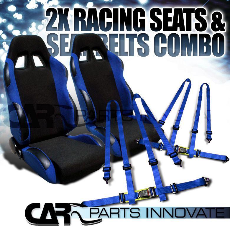 T-R BLACK BLUE CLOTH RECLINABLE RACING BUCKET SEATS PAIR w/BLUE BELT