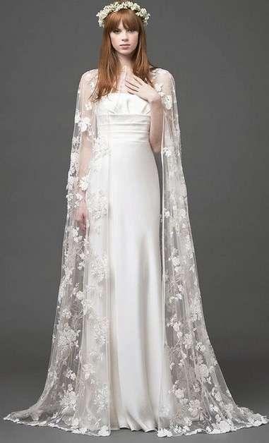 tendencias de boda 2017: vestidos de novia con capa [fotos