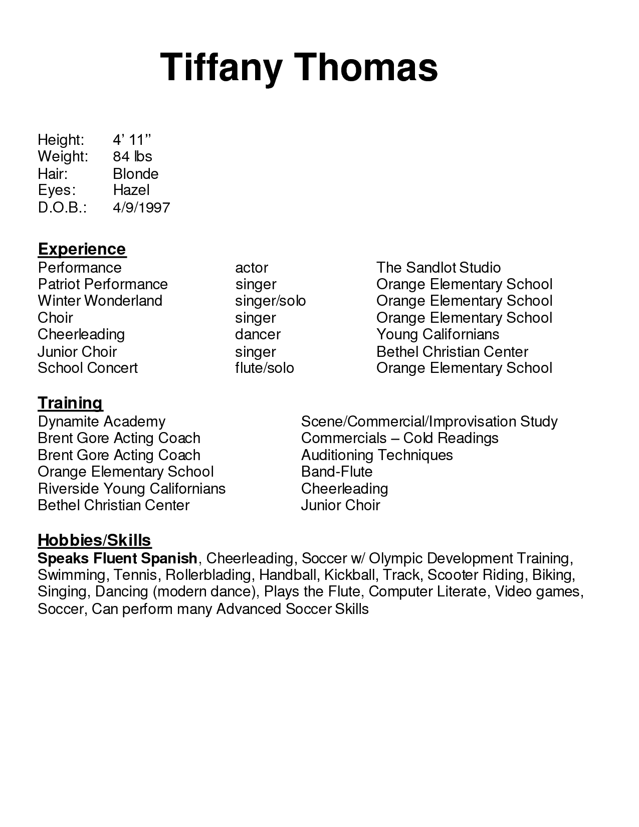 Awesome Collection of Sample Kids Resume With Additional