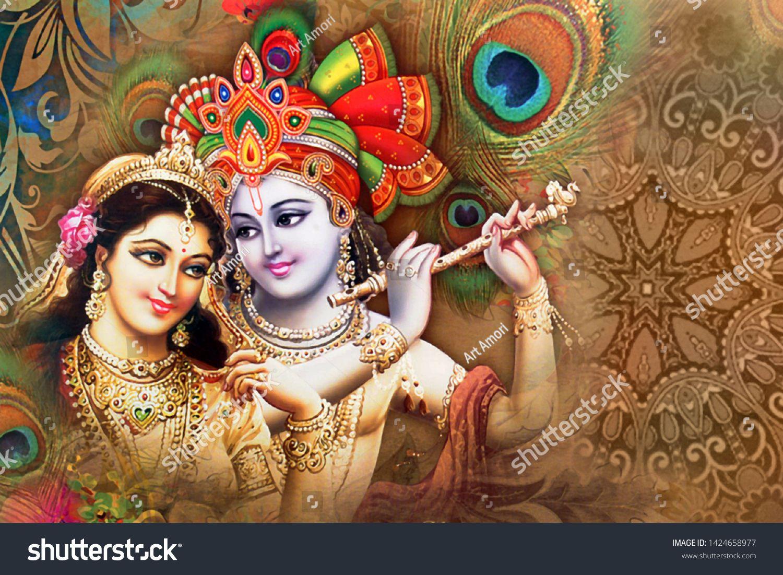 Illustration Of Lord Radha Krishna Hindu God On Decorative Texture Brown Background 3d Wallpaper Graphical Poster Modern Art In 2020 Ganesha Painting Art Hindu Gods
