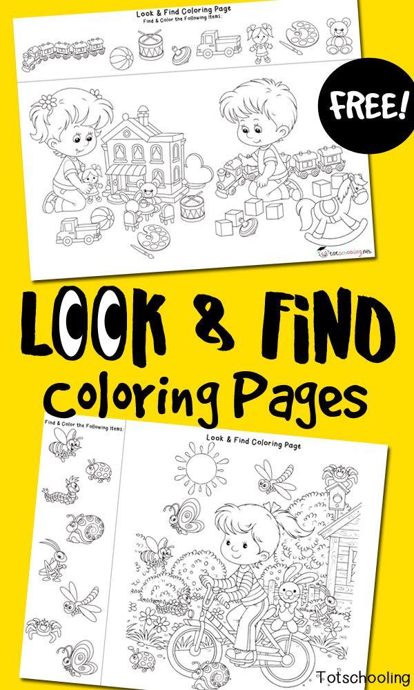 Look & Find Coloring Pages | Manualidades para niños, Actividades y ...