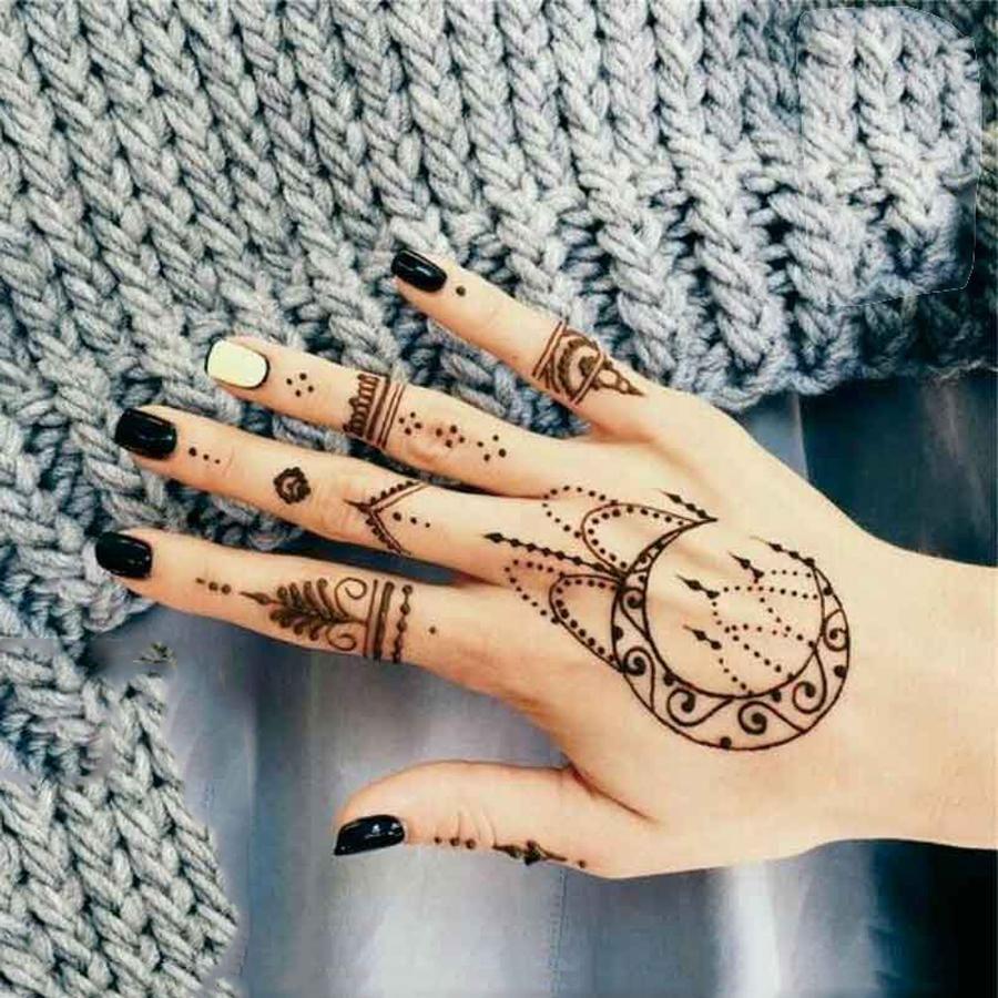 Tabitha Boho Black Geometric Shapes Mandala Moon Chandelier Temporary Tattoo