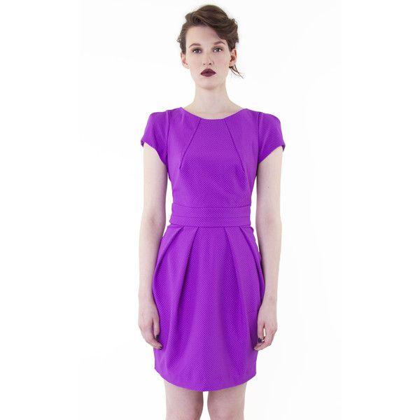 Textured Tailored Dress Purple (115 AUD) ❤ liked on Polyvore