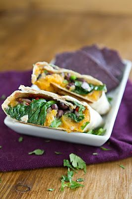 Sweet potato and spinach burritos!
