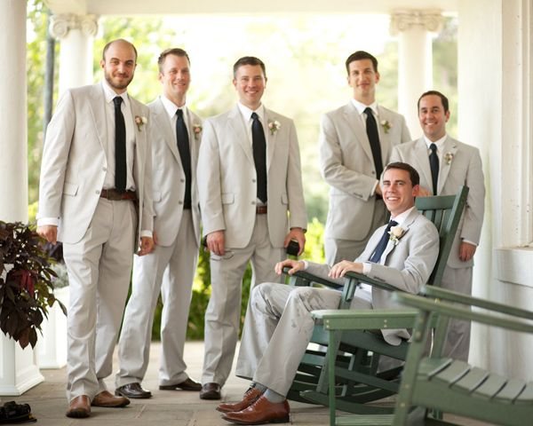 Southern weddings, Southern wedding ideas, gray suit grooms, Brian ...