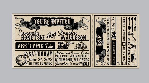 Vintage Antique Victorian Edwardian Banner Ticket Rustic Wedding Invitation Set With Tear Off Rsvp Card And Matching Address Labels