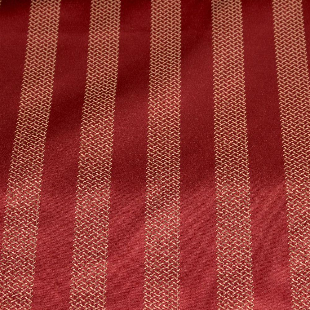 Satin Striped Fabric Red Gold Upholstery Decor Vtg Designer Textured 3 Yards #Unbranded