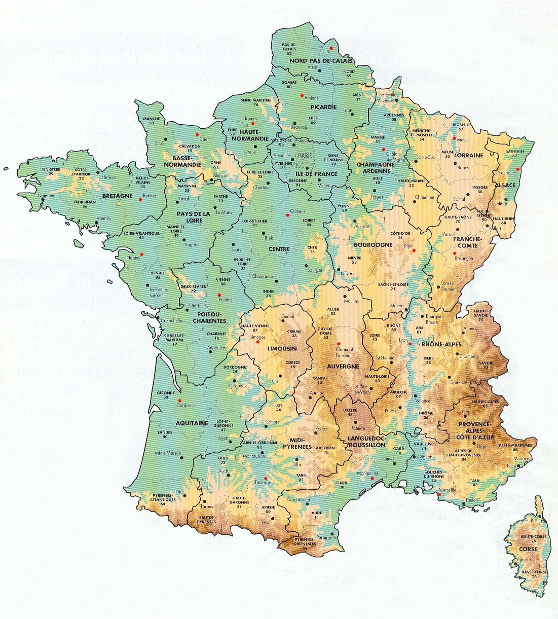 Mountains Of France Map.Geological Map Of France Showing Mountain Ranges Rivers Etc Note