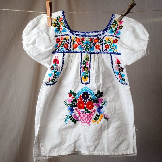 Mexican style embroidered little girls dress great gifts