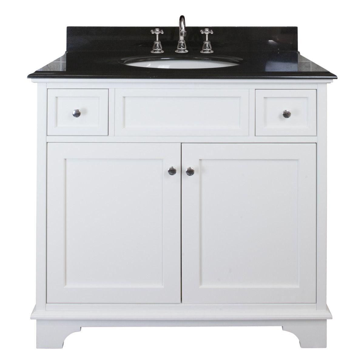 New York Medium Single Vanity in White with Black Granite. From ...