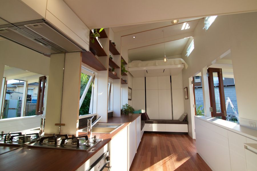 Brisbane Tiny House 2   Check Out The Full Bed That Drops Down