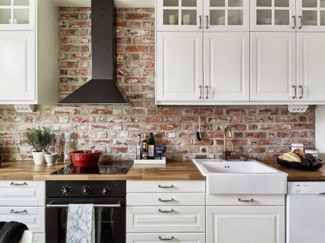 appealing white kitchen brick backsplash   30 Super Practical And Really Stylish Brick Kitchen ...