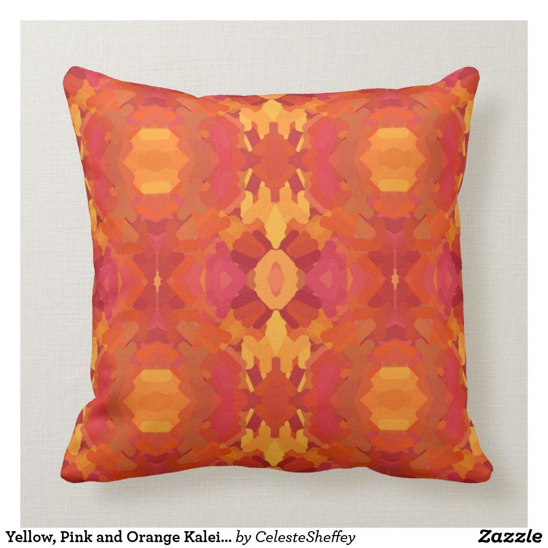 Yellow Pink And Orange Kaleidoscope Throw Pillow Zazzle Com In