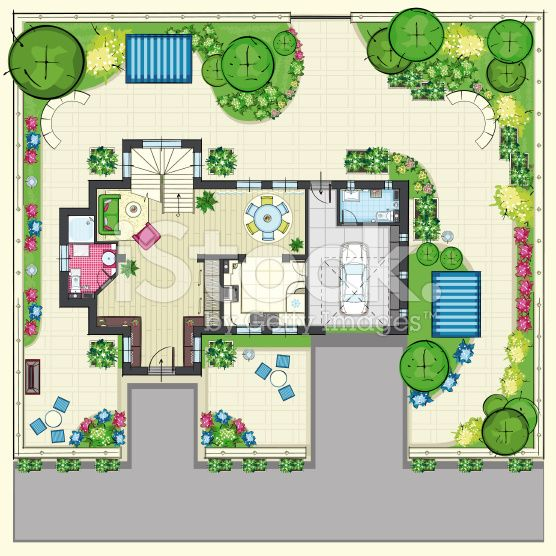 The Top plan of house with furnishings. View of the Ground ...