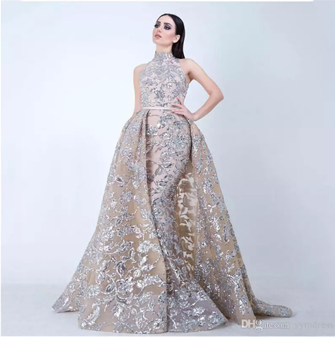 a0708a60d1f1 Luxury Sequined Prom Dresses Lace Sleeveless Women Evening Party Gown  Vestido De Festa Gold Overskirt Detachable Train 2018 Yousef Aljasmi