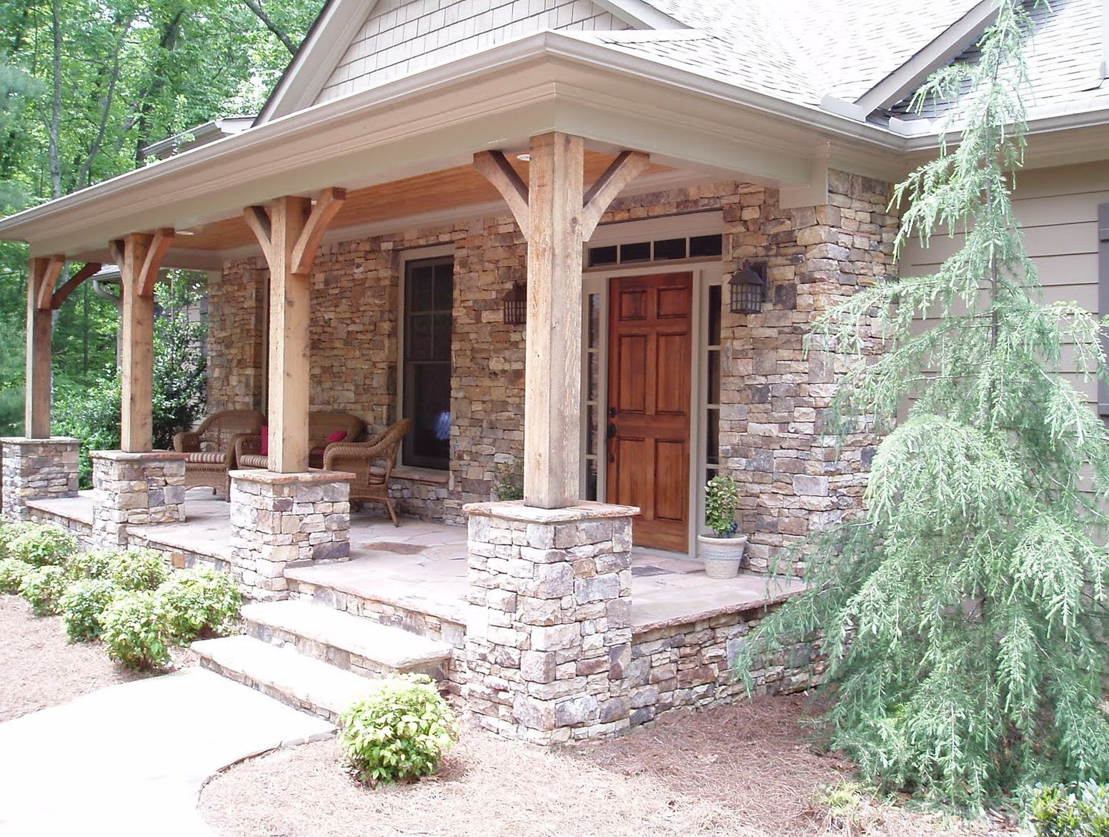 Stacked Stone Porch Columns This Would Work Beautifully