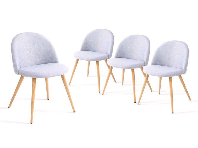 Lot De 4 Chaises Colette Coloris Bleu Ciel Vente De Chaise Conforama Chaise Ameublement 4 Chaises
