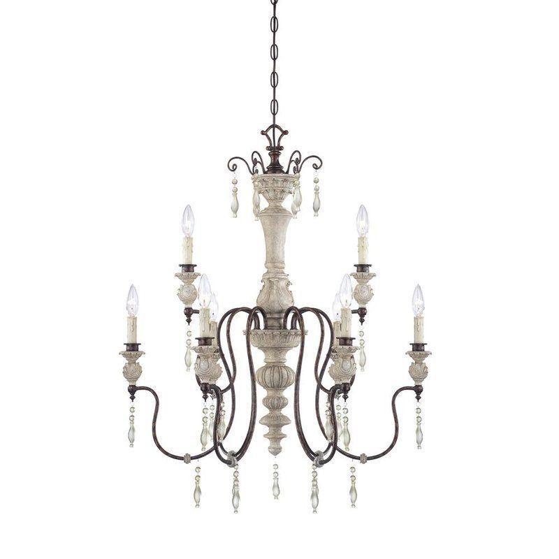 Curry Co Hannah Chandelier French Country Washed Wood Metal Look4less 750