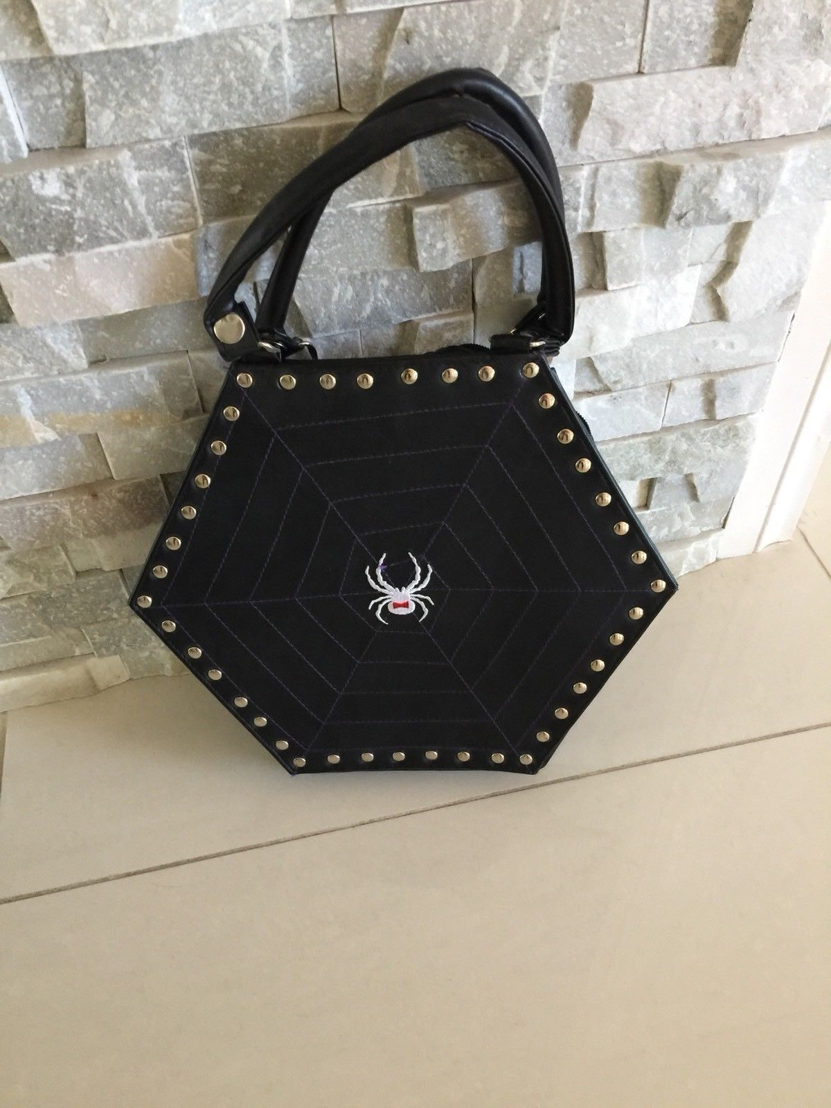 f7ec54789589 Gothic  Punk Unique Black DEMONIA Leather Hexagon Spiderweb Stud Hand Bag