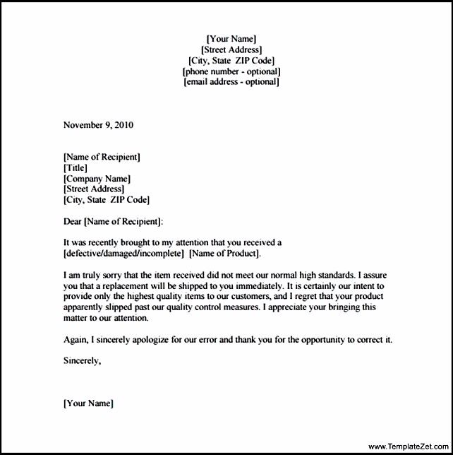 Apology Letter Customer For Damaged Goods Templatezet Behavior
