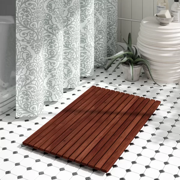 The Twillery Co Fairburn Bath Rug Teak Shower Mat Hanging Shower Caddy Teak