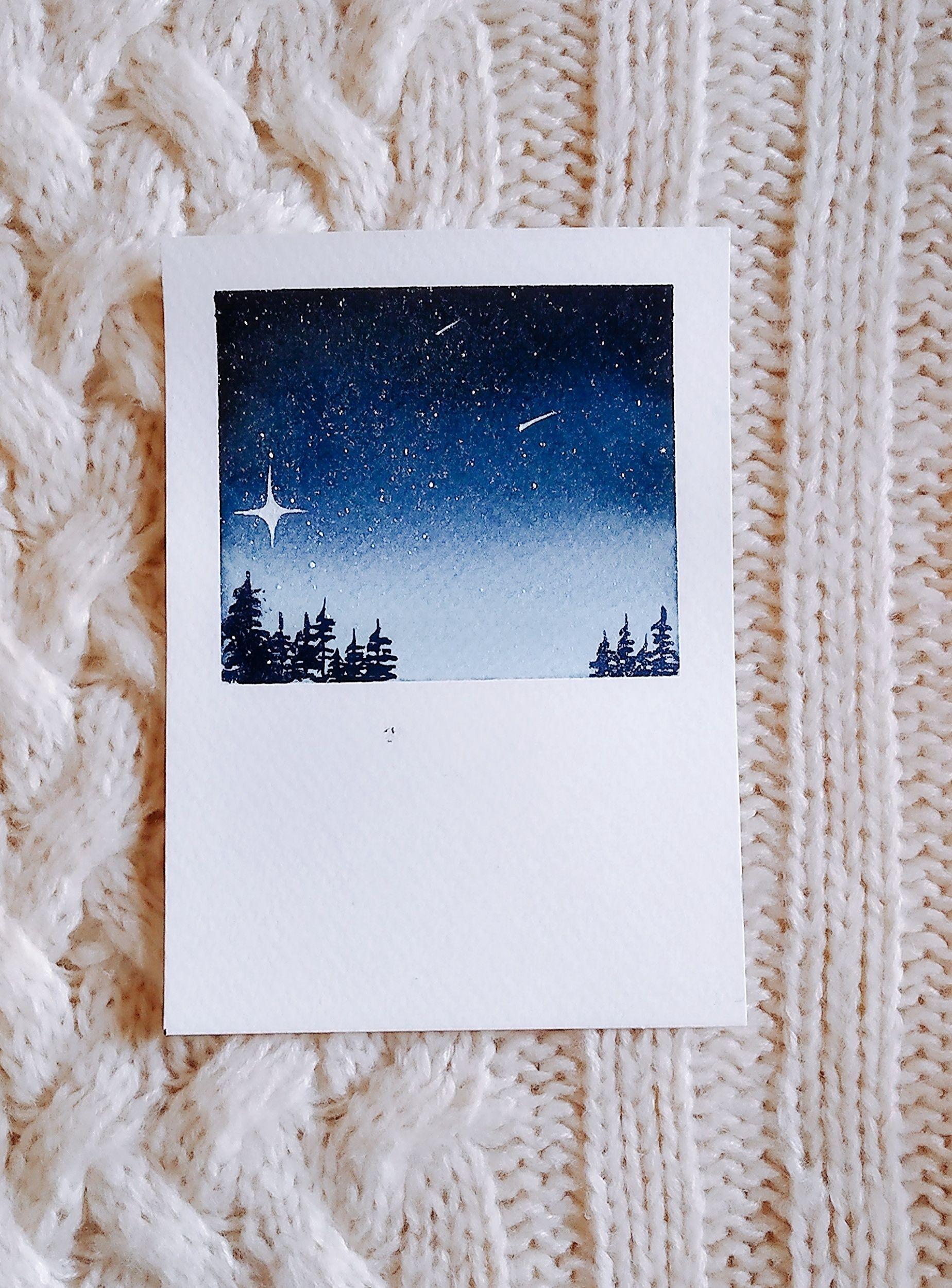 Watercolor Polaroid Night Sky Painting Ideas