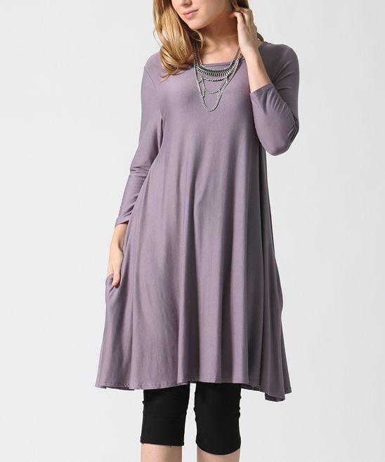 Purple Pocket A-Line Tunic
