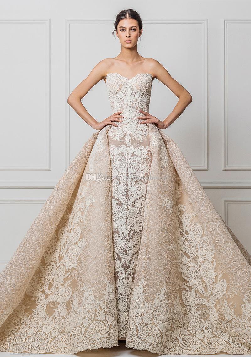 datchable royal train champagne lace wedding dresses 2017 maison ...