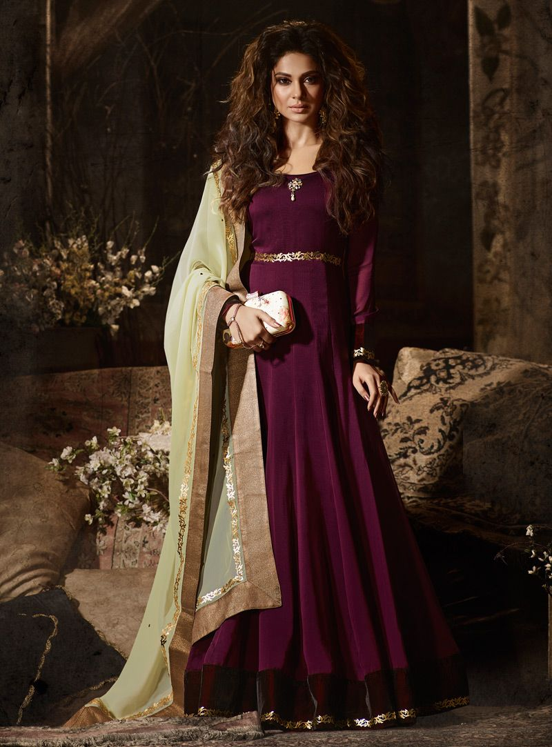 6526b86710 Wine colour Jennifer Winget Purple Silk Floor Length Anarkali Suit 124374