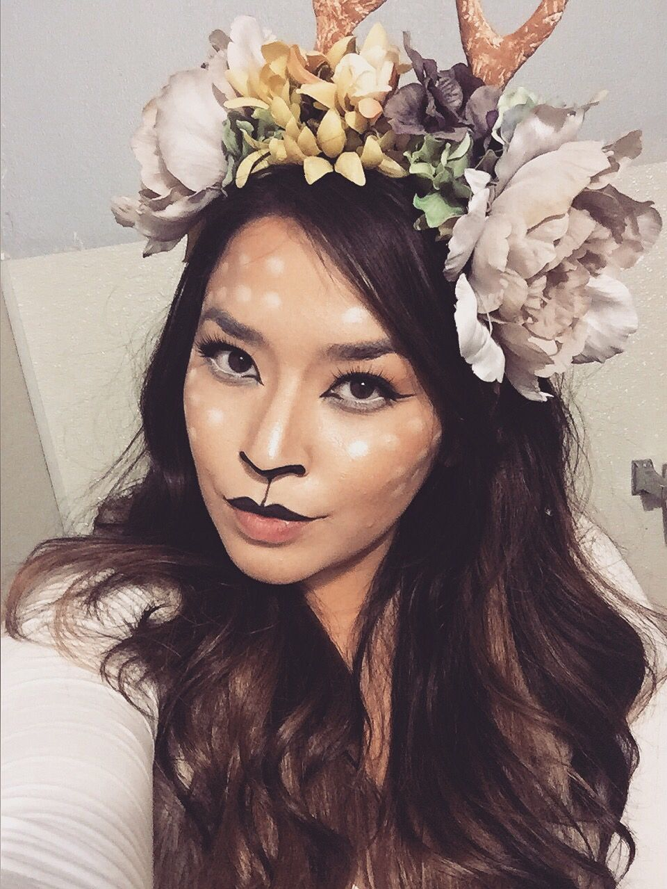 deer make up and flower crown with antlers for halloween