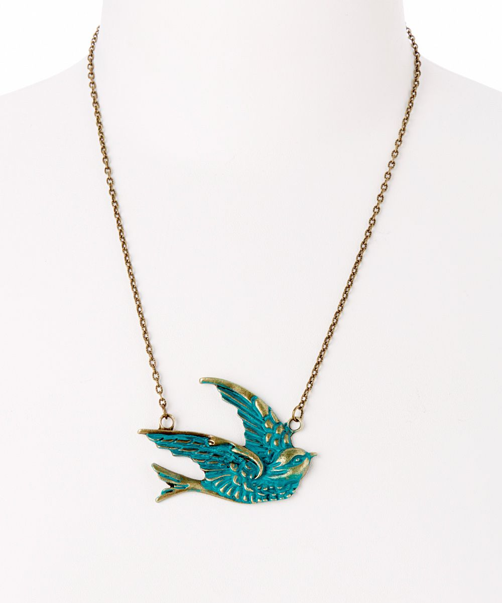 Brass teal sparrow pendant necklace daily deals for moms babies brass teal sparrow pendant necklace daily deals for moms babies and kids aloadofball Images