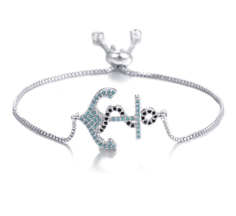 Silver Anchor Rhinestone Bracelet Womens Jewelry Pinterest