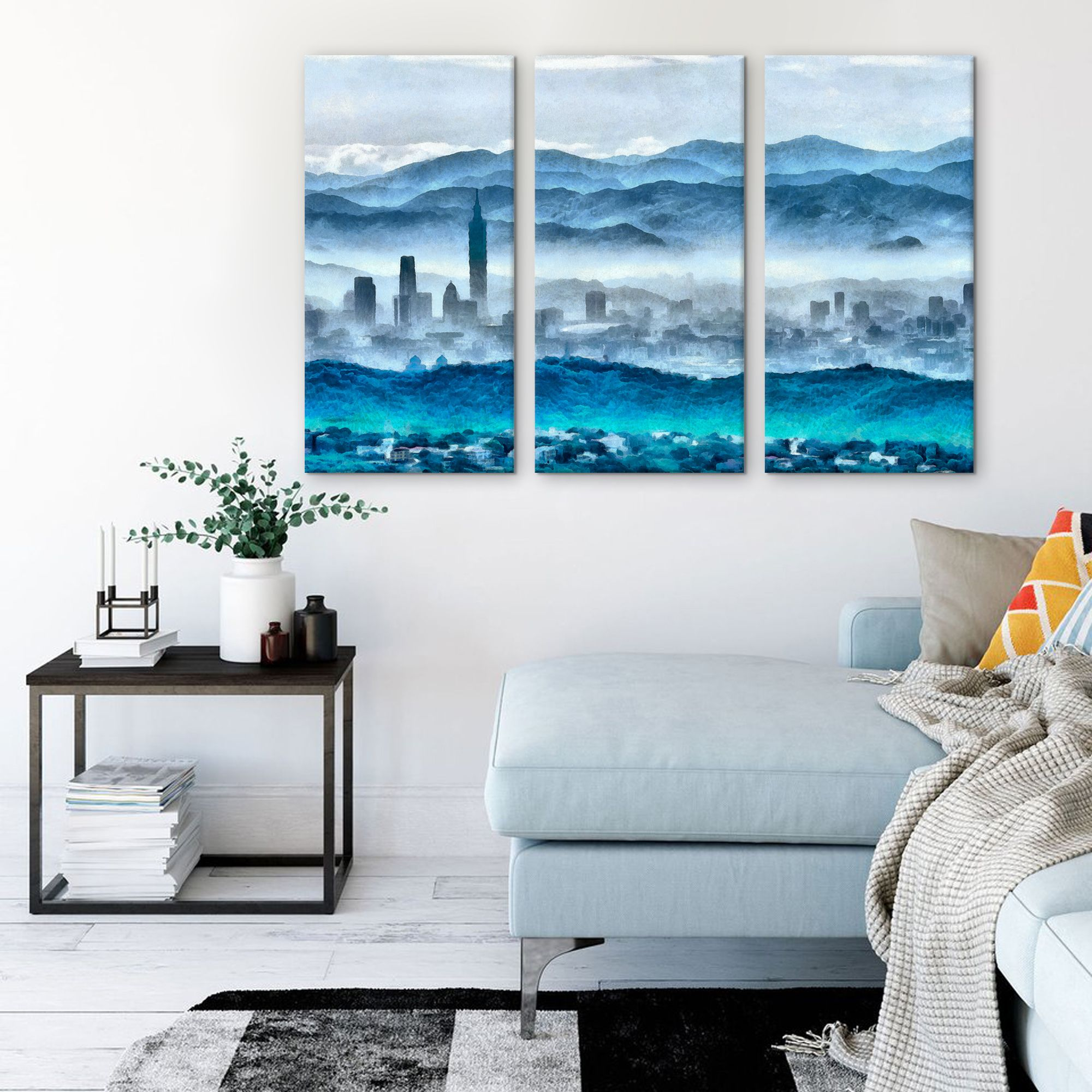 Taipei Skyline Wall Print 3 Panels Xinyi District Wall Art Taiwan Landscape Interior Print Canvas Wall Prints Custom Wall Art Canvas Prints