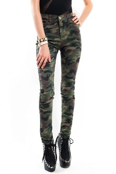 6ae5e355960d4 Camouflage Army Print High Waist Jeans - Slimskii Couture - Camo Jeans for  Women