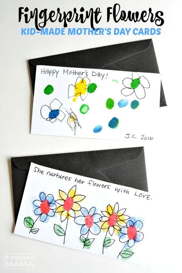 Fingerprint Flowers Sweet And Easy Handmade Birthday Card The